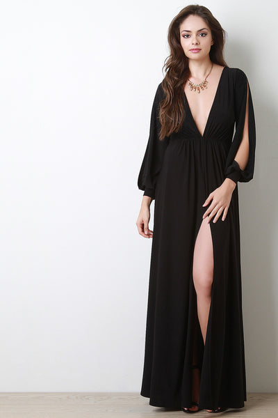 Deep V Neck Thigh High Slit Maxi Dress - Kaneli Nomad Boutique
