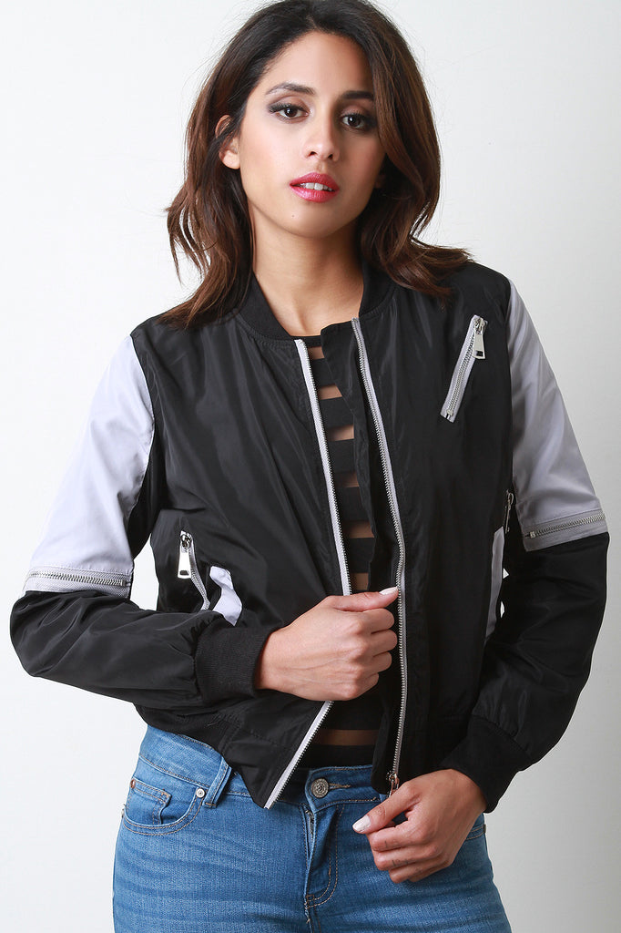 Two-Tone Zipper Bomber Jacket - Kaneli Nomad Boutique