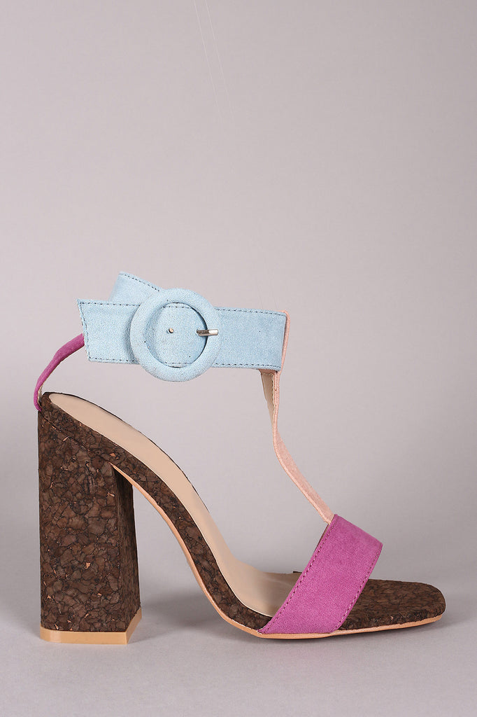Color Block T Strap Chunky Cork Heel - Kaneli Nomad Boutique