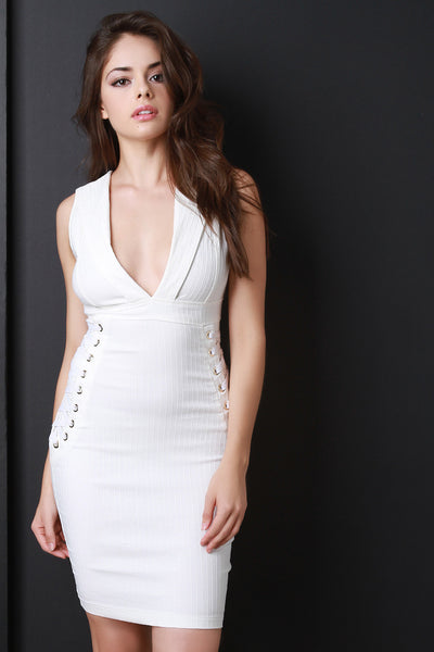 Deep V Side Lace Up Bodycon Dress - Kaneli Nomad Boutique