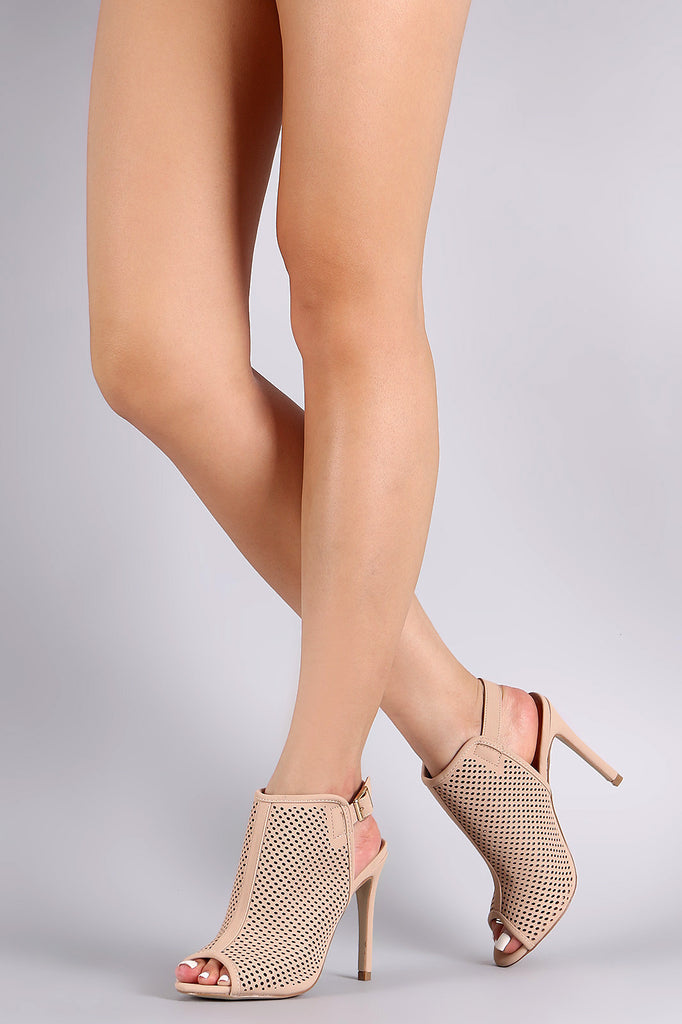 Perforated Nubuck Peep Toe Stiletto Heel - Kaneli Nomad Boutique