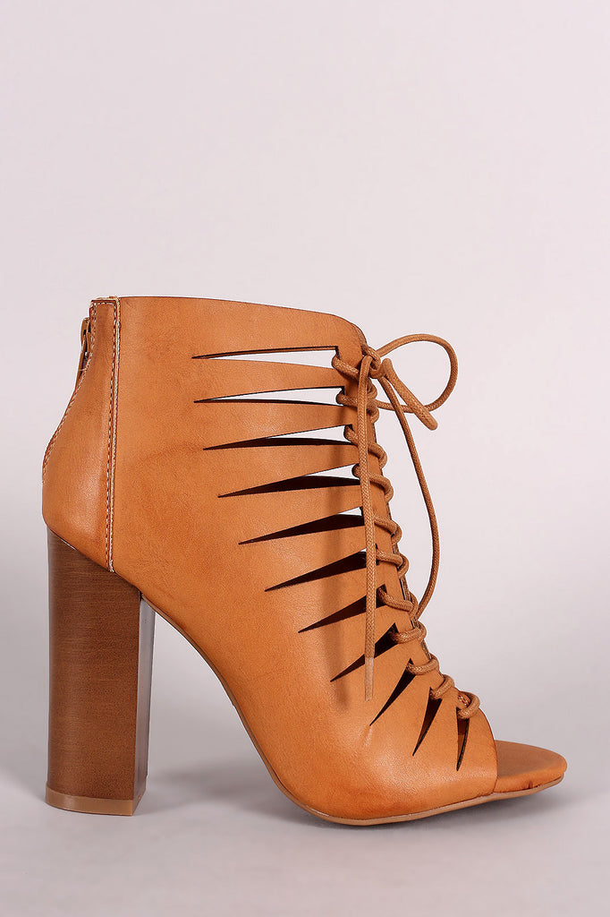 Bamboo Peep Toe Lace-Up Cutout Booties - Kaneli Nomad Boutique