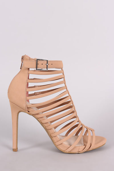 Anne Michelle Nubuck Strappy Buckled Stiletto Heel - Kaneli Nomad Boutique