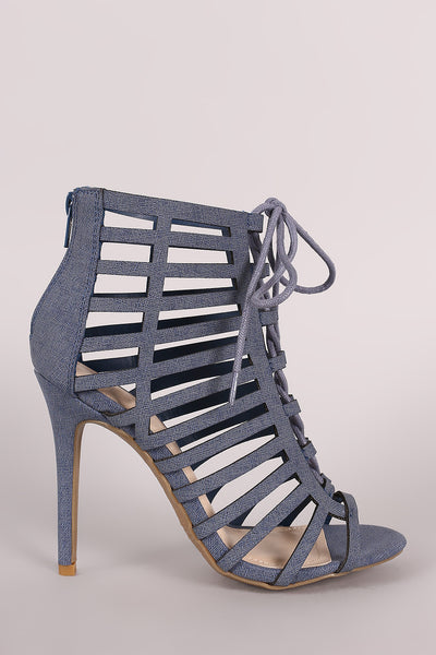Anne Michelle Nubuck Caged Lace Up Stiletto Heel - Kaneli Nomad Boutique