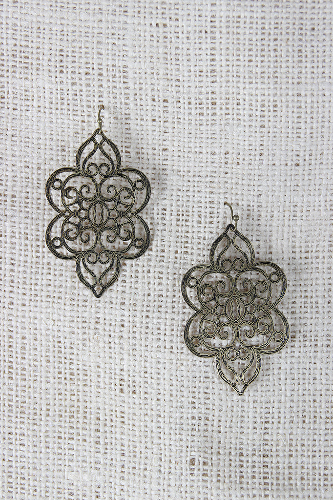 Filigree Laser Cut Dangle Earrings - Kaneli Nomad Boutique