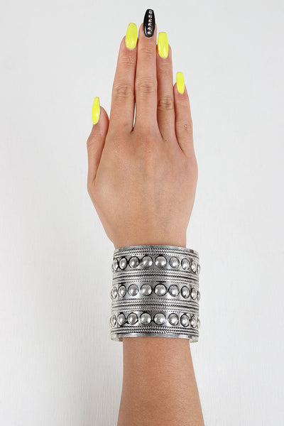 Circle Stud Metal Cuff - Kaneli Nomad Boutique