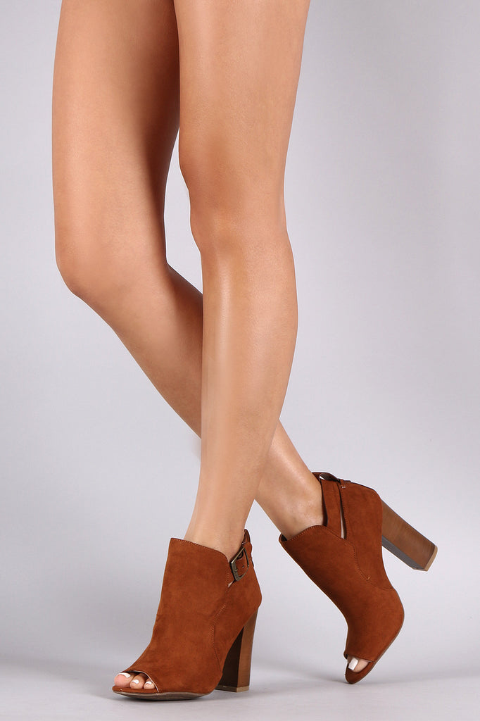 Bamboo Open Toe Chunky Heel Buckle Booties - Kaneli Nomad Boutique