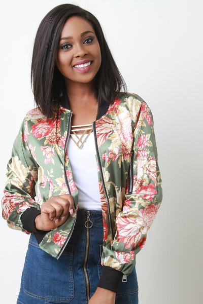 Charmeuse Floral Zip Accent Bomber Jacket - Kaneli Nomad Boutique