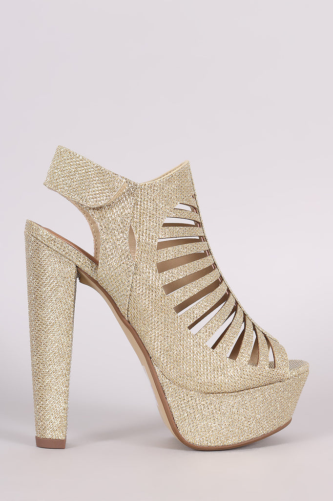 Speed Limited 98 Glitter Caged Cutout Platform Heel - Kaneli Nomad Boutique