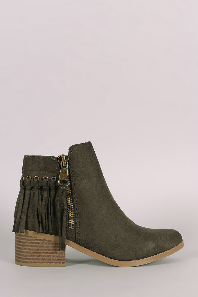 City Classified Suede Fringe Block Heel Ankle Boots - Kaneli Nomad Boutique