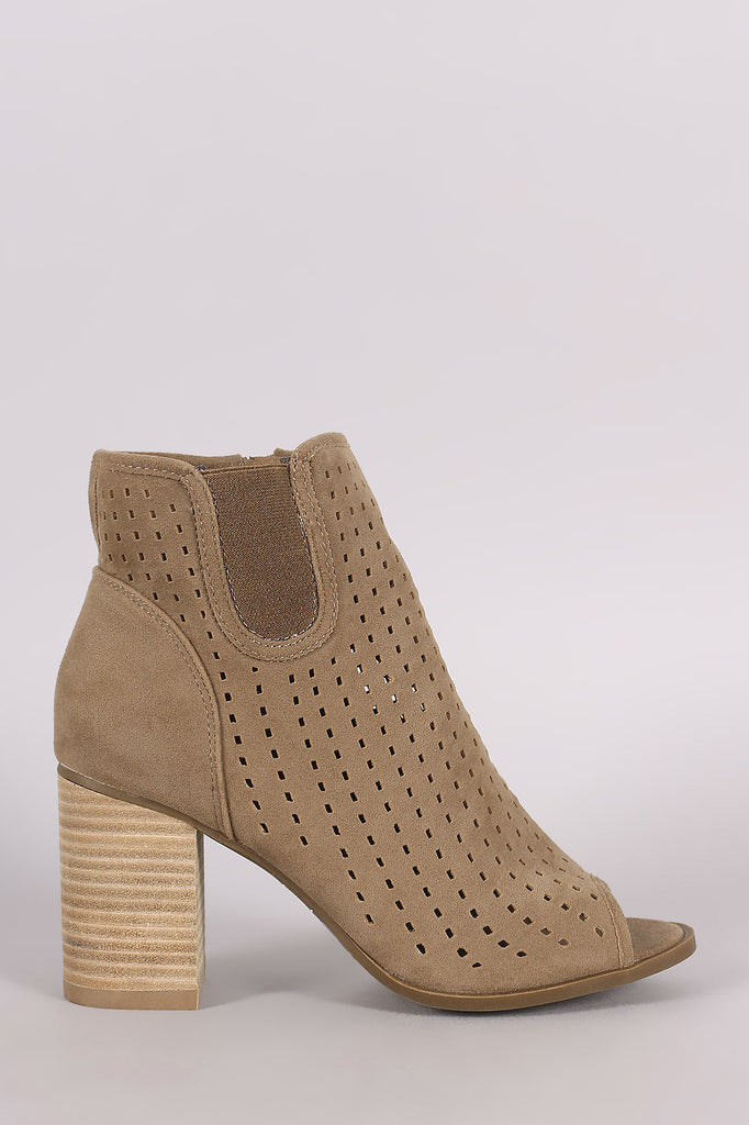 Perforated Peep Toe Chunky Heeled Ankle Boots - Kaneli Nomad Boutique