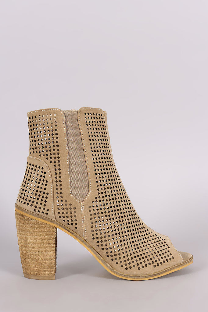 Perforated Peep Toe Chunky Heeled Booties - Kaneli Nomad Boutique