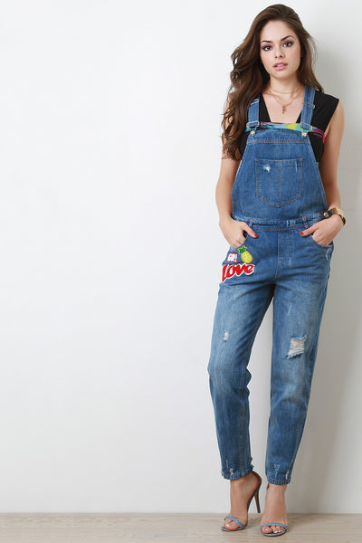 Distressed Faded Patch Overalls - Kaneli Nomad Boutique