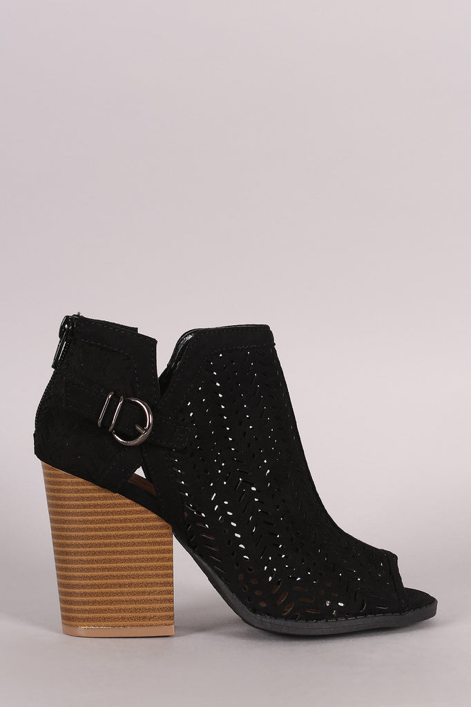Qupid Perforated Suede Buckled Chunky Heeled Booties - Kaneli Nomad Boutique
