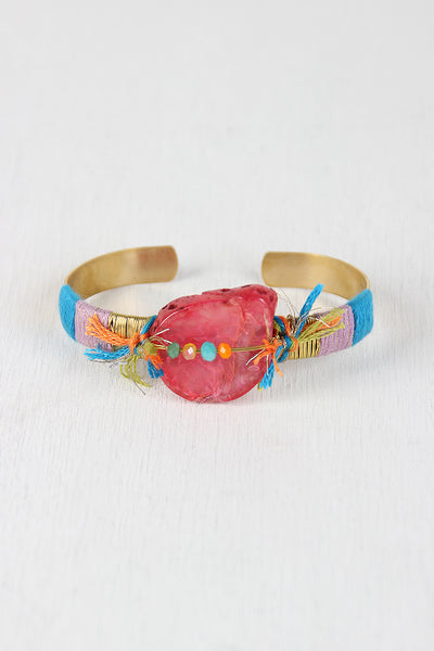 Colorful String And Stone Cuff Bracelet - Kaneli Nomad Boutique