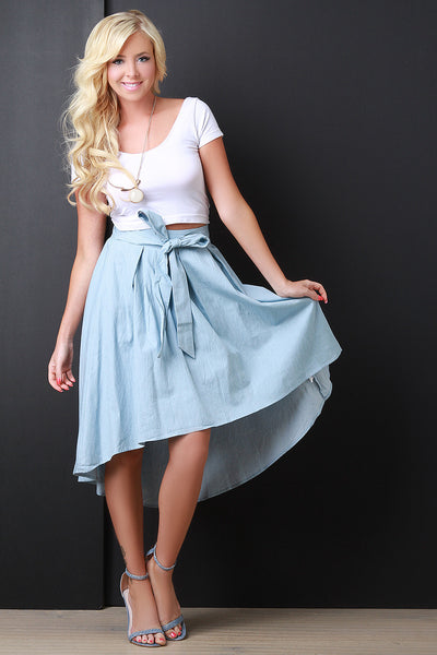 Self Tie Chambray High Low Hem Circle Skirt - Kaneli Nomad Boutique