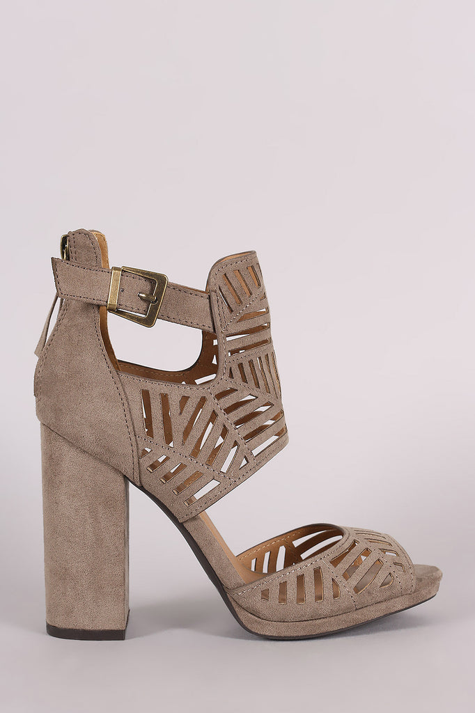 Qupid Perforated Ankle Cuff Peep Toe Chunky Heel - Kaneli Nomad Boutique