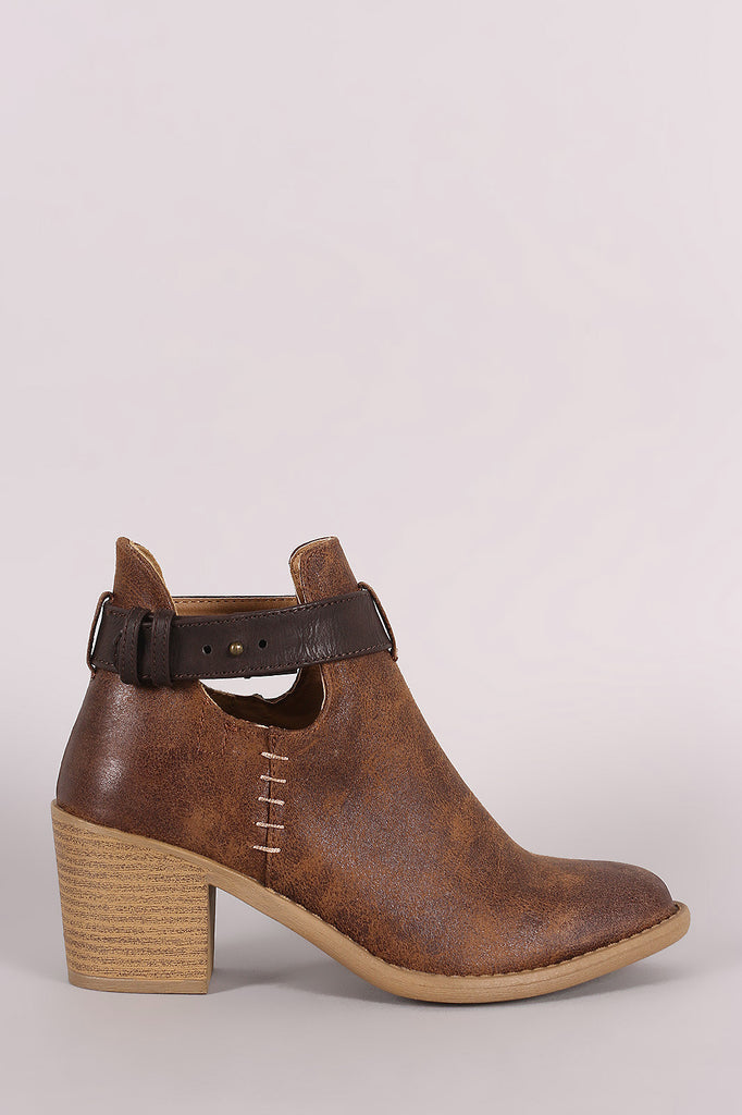 Qupid Almond Toe Blocked Heeled Ankle Boots - Kaneli Nomad Boutique