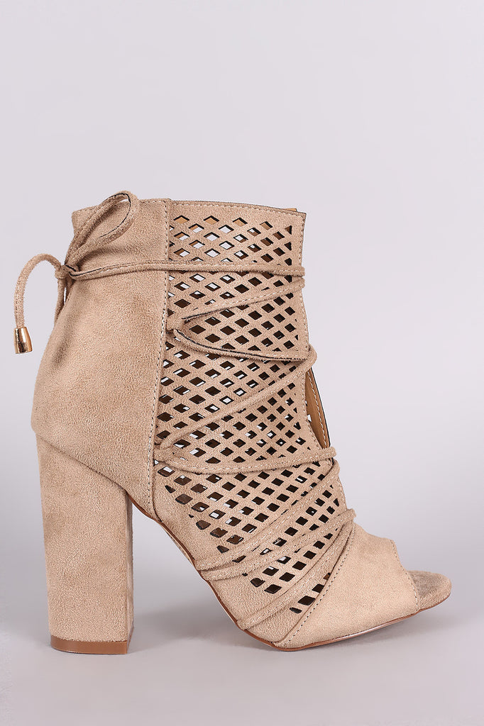 Perforated Suede Lace-Up Chunky Heeled Ankle Boots - Kaneli Nomad Boutique
