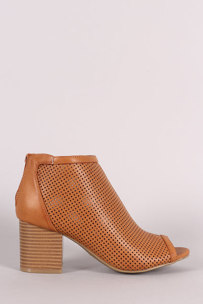 Bamboo Perforated Peep Toe Chunky Heeled Booties - Kaneli Nomad Boutique