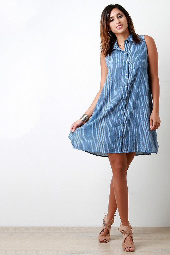 Woven Pinstripe Button Down Shirt Dress - Kaneli Nomad Boutique