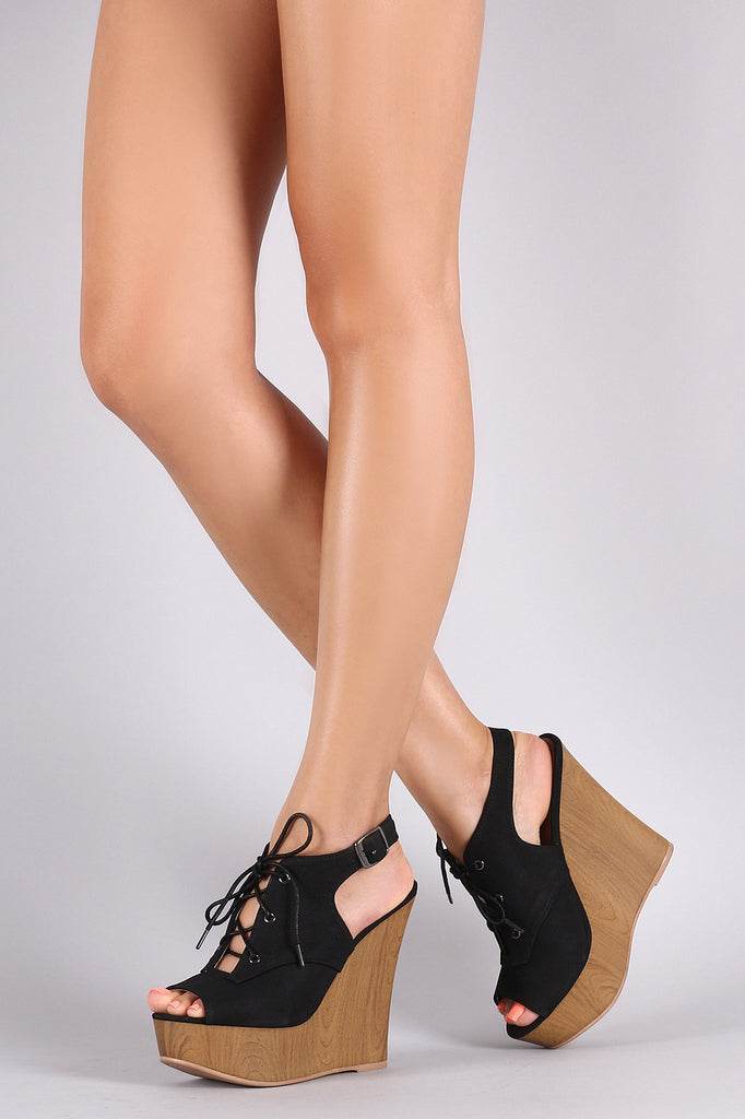 Qupid Nubuck Slingback Mule Wooden Wedge - Kaneli Nomad Boutique