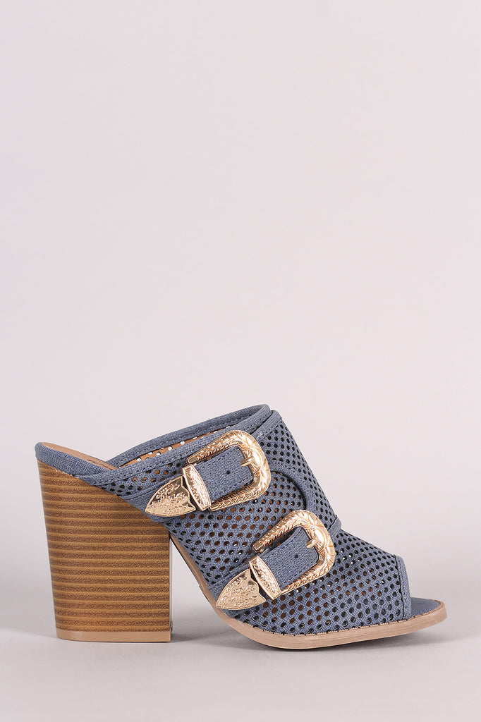 Qupid Perforated Denim Print Buckled Chunky Mule Heel - Kaneli Nomad Boutique