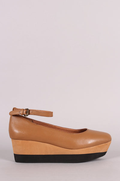 Ankle Strap Almond Toe Napa Leather Flatform Wedge - Kaneli Nomad Boutique