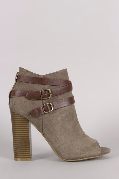 Bamboo Suede Buckled Strap Chunky Heeled Booties - Kaneli Nomad Boutique