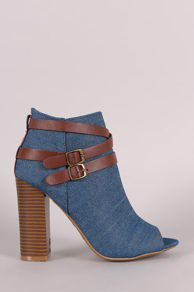 Bamboo Denim Buckled Strap Chunky Heeled Booties - Kaneli Nomad Boutique