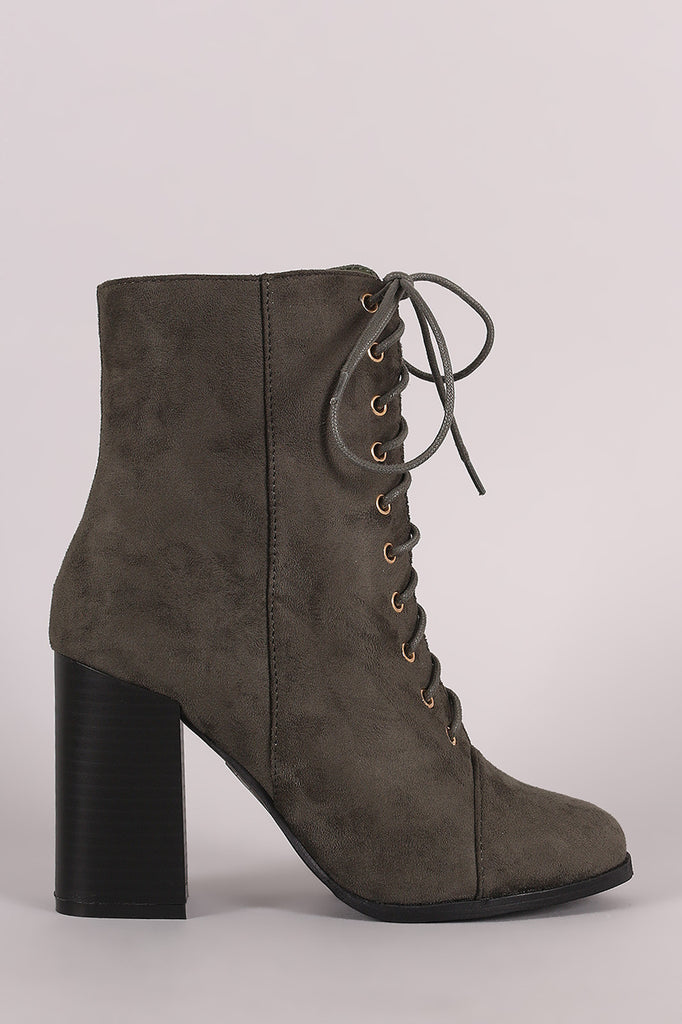 Suede Combat Chunky Heel Boots - Kaneli Nomad Boutique