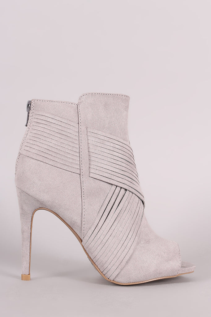 Qupid Suede Crisscross Slashed Stiletto Booties - Kaneli Nomad Boutique