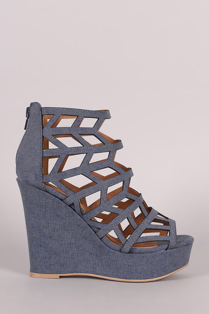Qupid Denim Geometric Cage Platform Wedge - Kaneli Nomad Boutique