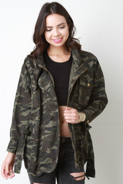 Camouflage Snap Button Belted Jacket