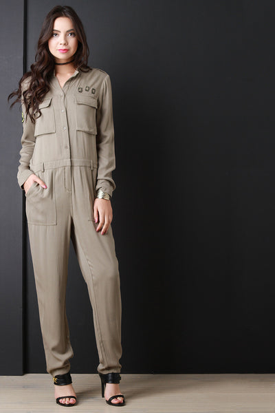 Patch Button Up Long Sleeve Jumpsuit - Kaneli Nomad Boutique