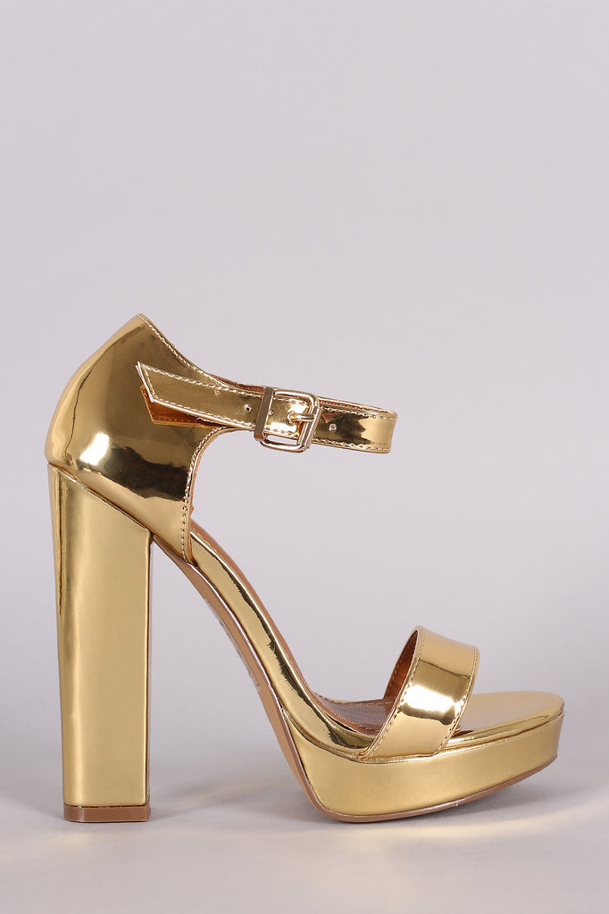Shoe Republic LA Mirror Metallic Platform Chunky Heel - Kaneli Nomad Boutique