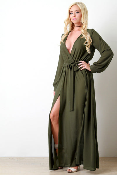 Chiffon Surplice Wrap Front Slit Maxi Dress - Kaneli Nomad Boutique