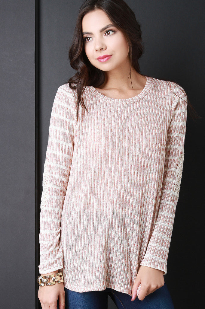Striped Crochet Patch Long Sleeves Sweater Top - Kaneli Nomad Boutique