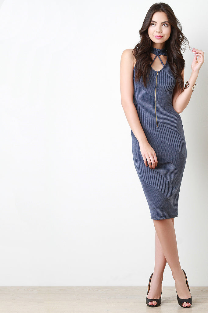 Rib Knit Mock Neck Cut Out Midi Dress - Kaneli Nomad Boutique
