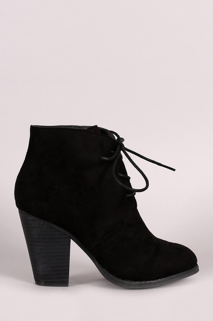 Liliana Almond Toe Lace Up Chunky Heel Booties - Kaneli Nomad Boutique