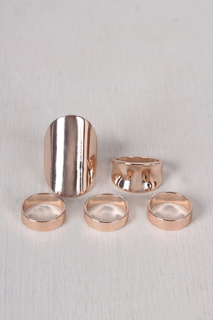Simple Polished Band Ring Set - Kaneli Nomad Boutique