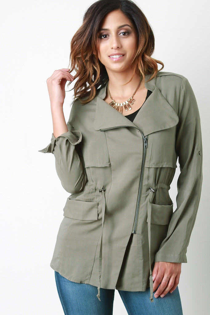 Drawstring Waist Long Sleeves Utility Jacket - Kaneli Nomad Boutique