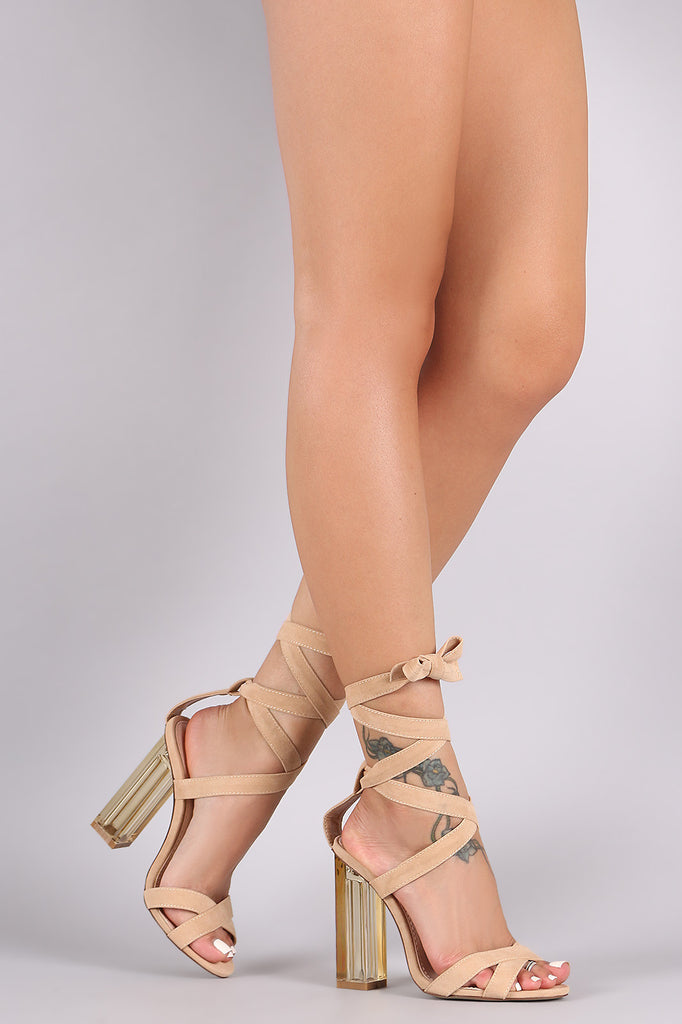 Suede Open Toe Lace Up Lucite Heel - Kaneli Nomad Boutique
