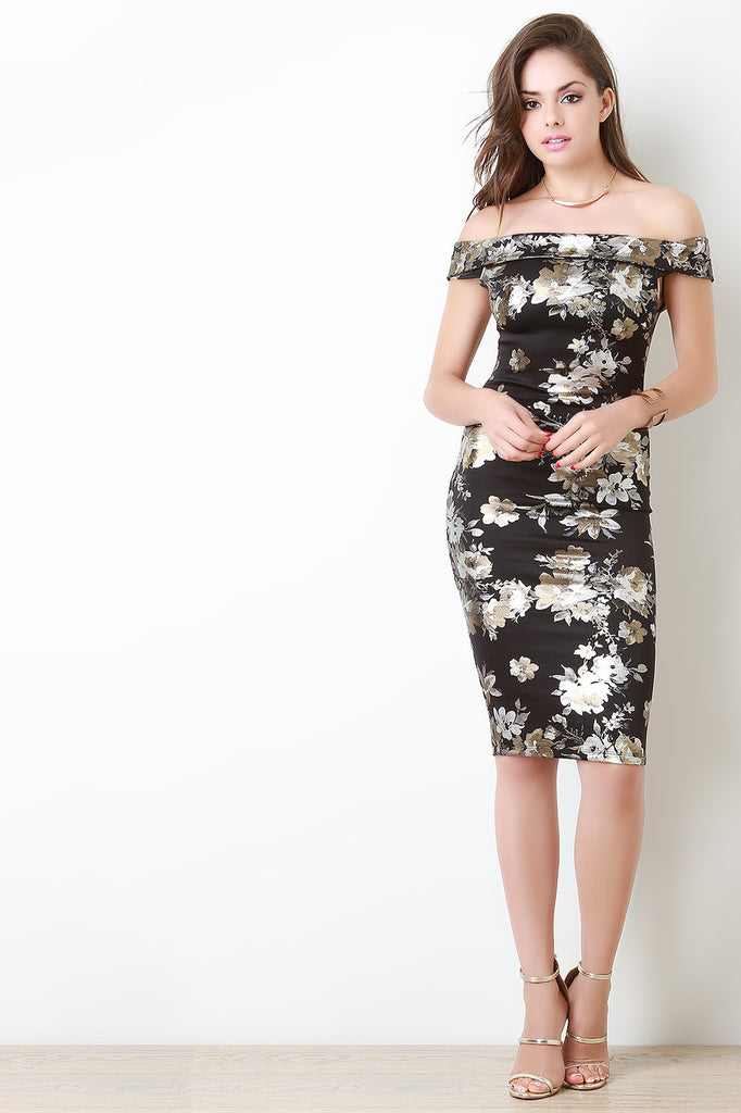 Metallic Floral Bodycon Bardot Dress - Kaneli Nomad Boutique