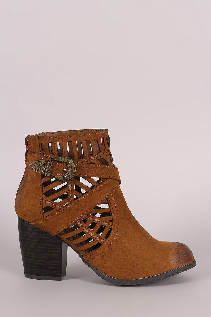Qupid Suede Geo Cutout Buckled Chunky Heeled Booties - Kaneli Nomad Boutique