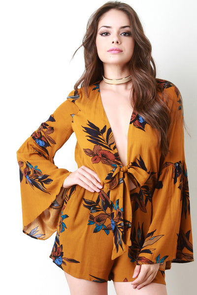 Bell Sleeve Tropical Tie Romper - Kaneli Nomad Boutique