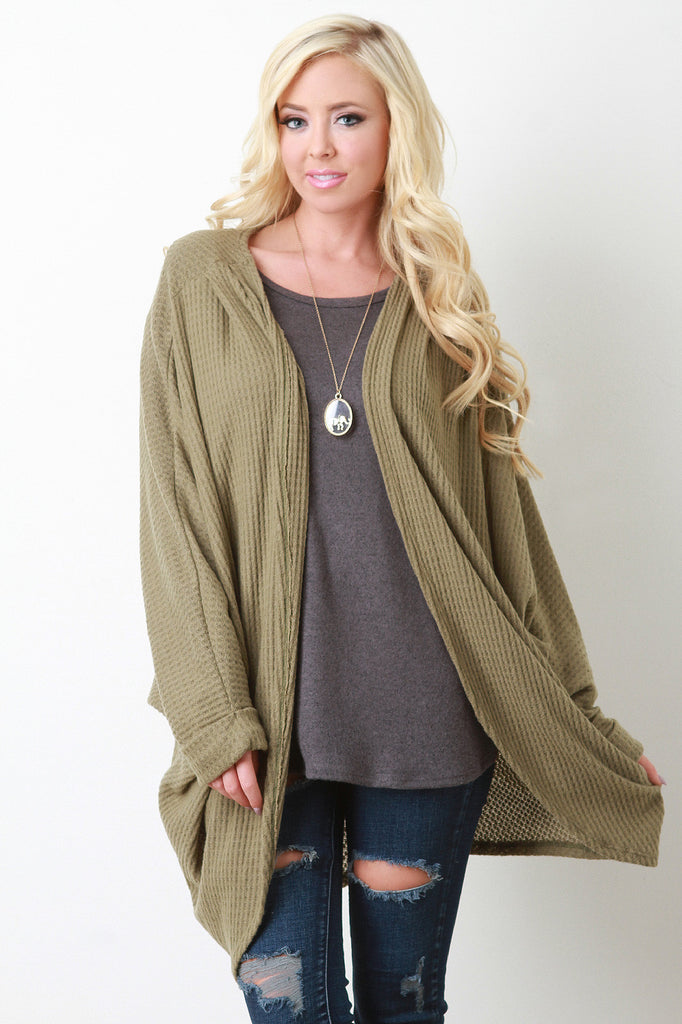 Thermal Knit Dolman Sleeve Draped Cardigan - Kaneli Nomad Boutique