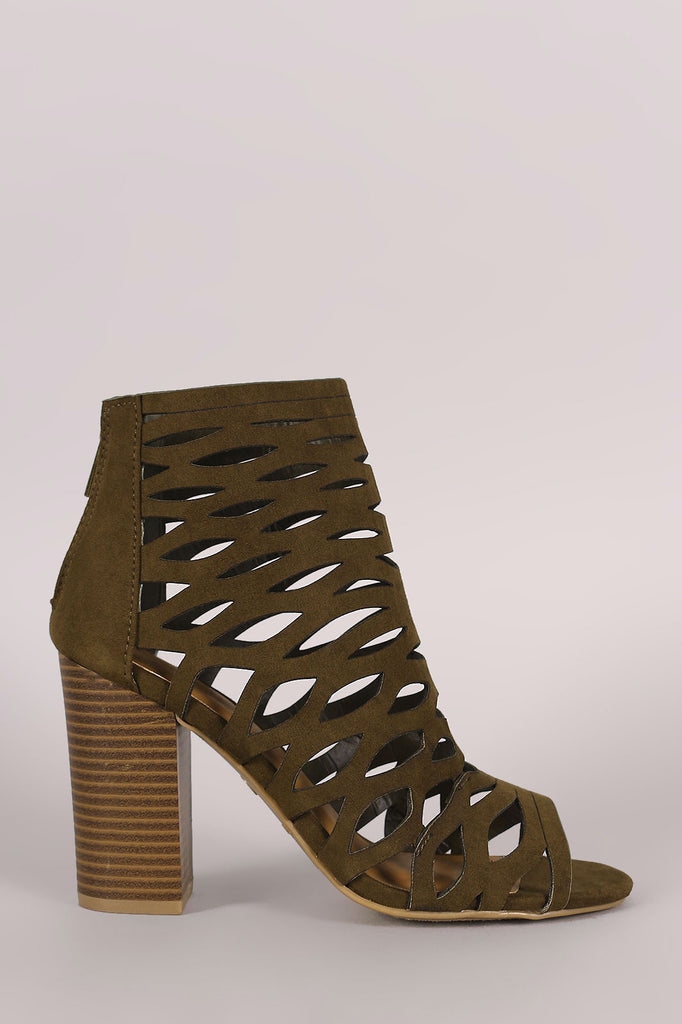 Bamboo Suede Caged Cutout Chunky Heeled Booties - Kaneli Nomad Boutique