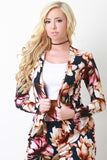Textured Knit Floral Print Open Front Blazer - Kaneli Nomad Boutique