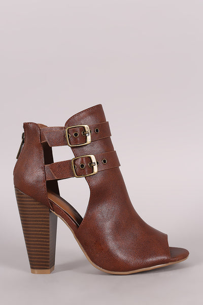Bamboo Open Side Double Buckled Chunky Heeled Ankle Boots - Kaneli Nomad Boutique